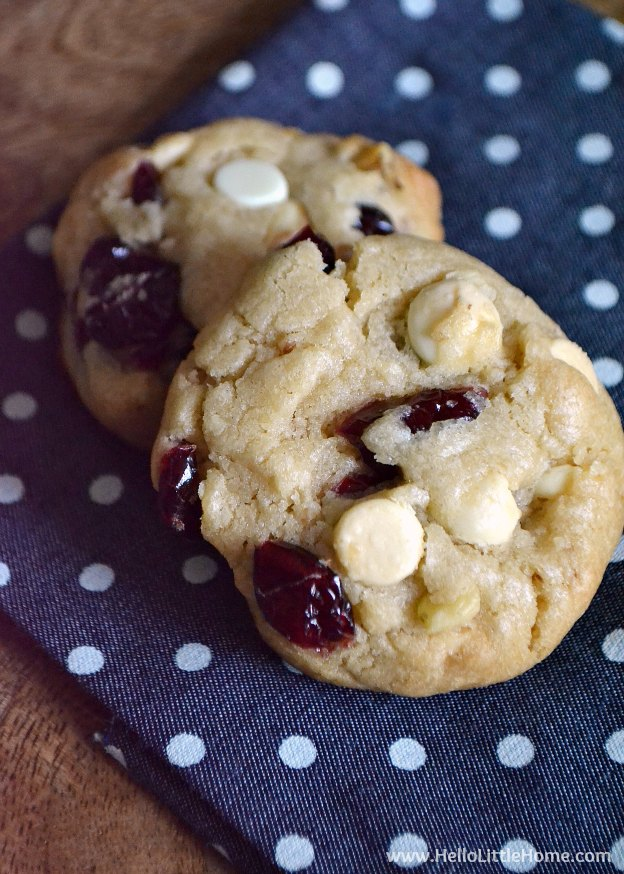 Thick, chewy White Chocolate Cranberry Cookies ... a perfect treat for the holidays or any time of year! These are the best White Chocolate Cookies, and they loaded with pecans and dried cranberries! Your whole family will love these Cranberry White Chocolate Cookies! | Hello Little Home #cookies #christmascookies #holidaybaking #whitechocolate #cranberries