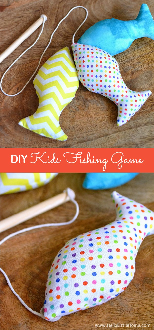 This DIY Kids Fishing Game provides hours of fun and makes a great gift! Get the tutorial, plus check out our Kids Gift Guide! | Hello Little Home