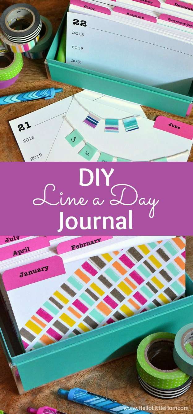 Learn how to make a DIY Line a Day Journal using note cards, washi tape, and other craft supplies! Looking for DIY journal ideas? This fun and easy tutorial shows you how to make a homemade diary from scratch that's perfect for adults or kids and is full of inspiration and creativity. This step by step handmade journal tutorial includes lots of tips and free printables. | Hello Little Home