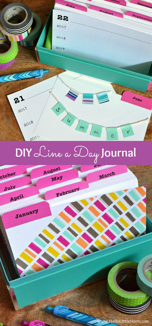 DIY Line a Day Journal ... learn how to make your own line a day journal! It's super fun to create and makes a great gift! | Hello Little Home