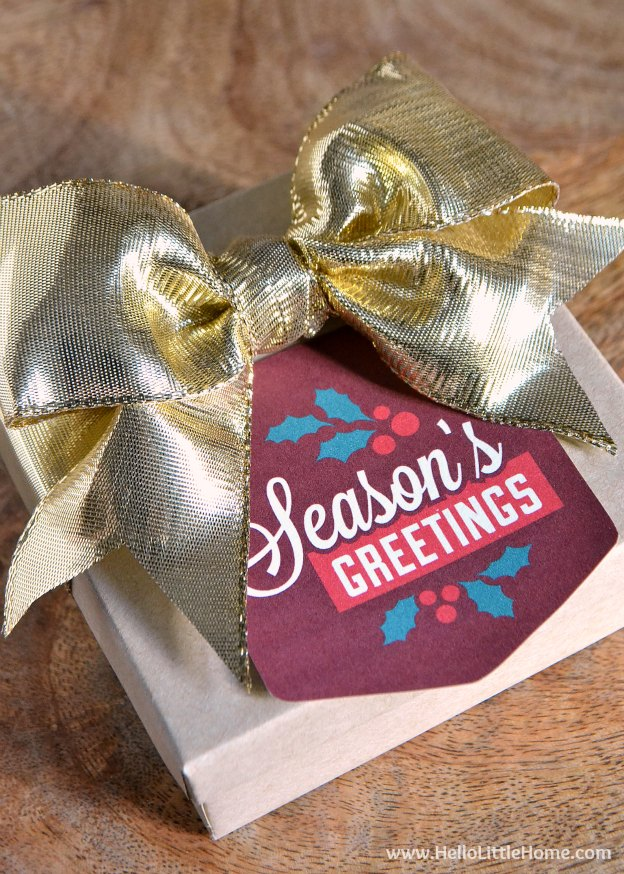 Seasons Greetings Gift Tags. One of 20 FREE printable holiday gift tags ... perfect for decorating all your Christmas packages! | Hello Little Home