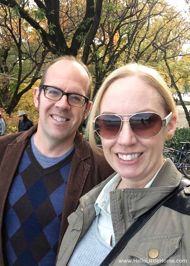 My husband and I exploring Central Park in fall! | Hello Little Home