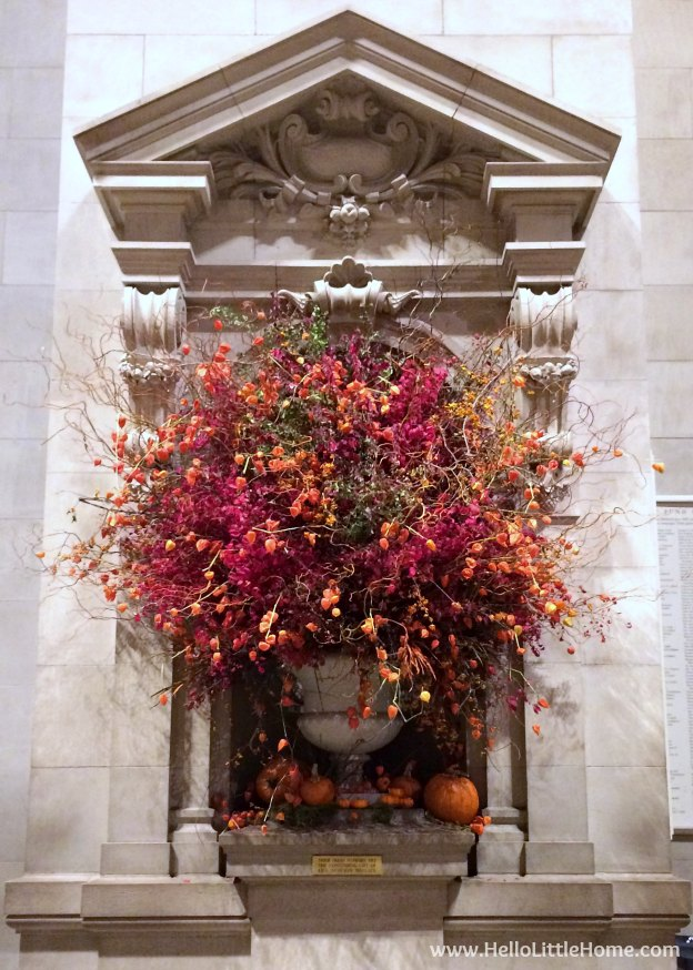 The Metropolitan Museum of Art decorated for fall, part of a Guide to Central Park in Fall (in Pictures)! Take a walking tour of NYC's Central Park in autumn ... the fall colors are bucket list worthy! This iconic US park is a top travel destination in Manhattan and autumn is the perfect time to visit. | Hello Little Home