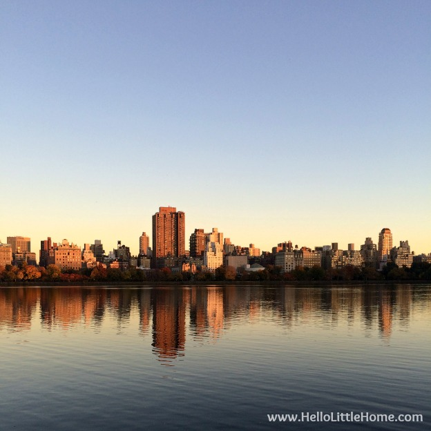 Sunset View of The Upper East Side | Guide to Central Park in Fall (in Pictures)! Take a walking tour of NYC's Central Park in autumn ... the fall colors are bucket list worthy! This iconic US park is a top travel destination in Manhattan and autumn is the perfect time to visit. | Hello Little Home