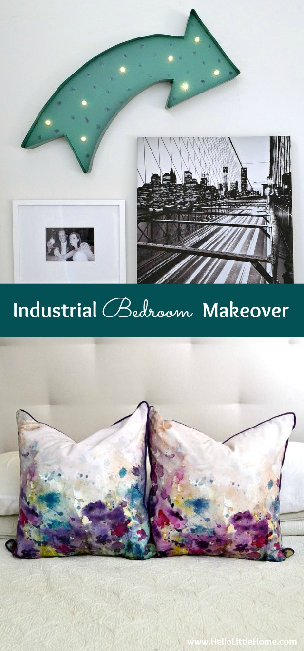 Check out this bright and colorful Industrial Bedroom Makeover, plus get tips for how to get the look! | Hello Little Home