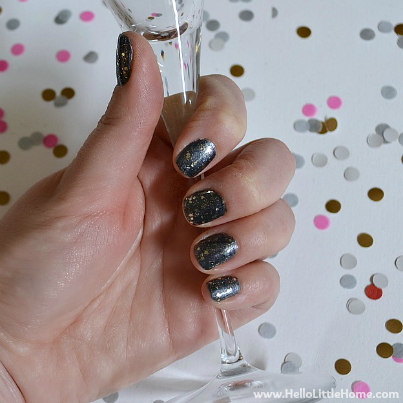 Edgy, Glittery Manicure ... Perfect for NYE! | Hello Little Home #NailPolish #NailArt #NYE