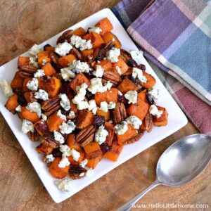 Roasted Butternut Squash with Cranberries, Pecans, and Blue Cheese