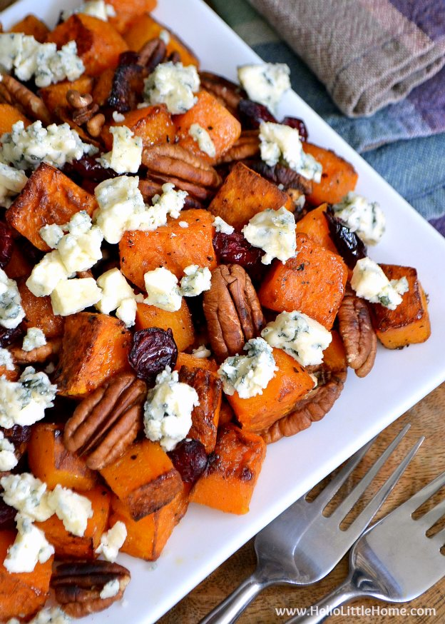 Roasted Butternut Squash with Cranberries, Pecans, and Blue Cheese ... a delicious vegetarian side dish recipe that's perfect for Thanksgiving or any meal! | Hello LIttle Home