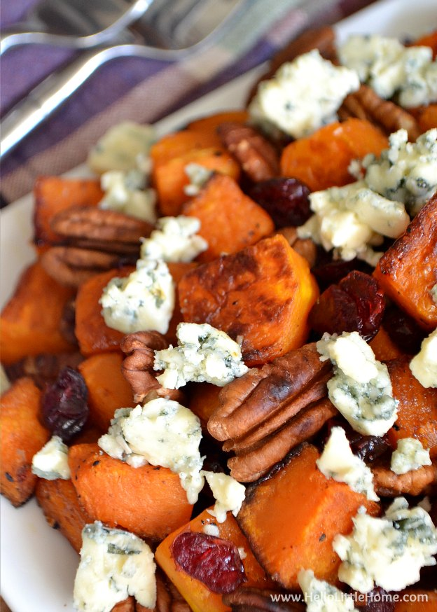 Roasted Butternut Squash with Cranberries, Pecans, and Blue Cheese ...