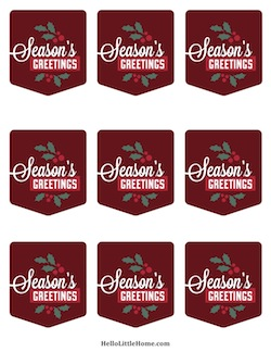 Free Printable Seasons Greetings Gift Tags | Hello Little Home