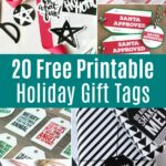 Collage of different free printable holiday gift tags.