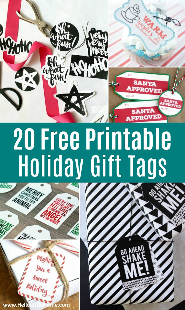 picture regarding Free Printable Christmas Name Tags named 20 Cost-free Printable Xmas Reward Tags Howdy Very little Dwelling