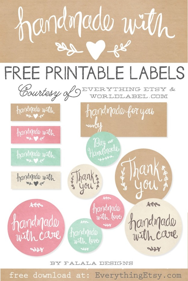 Handmade With Love Labels From Everything Etsy One Of 20 FREE Printable Holiday Gift Tags