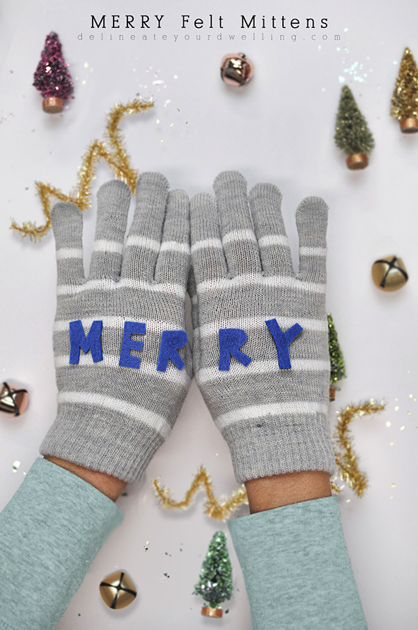 Merry Felt Mittens from Delineate Your Dwelling,featured on The Ultimate DIY Christmas Gift Guide: 50+ Gift Ideas for Everyone on Your List! | Hello Little Home