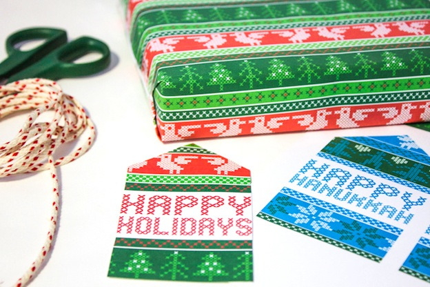 Nordic Wrapping Paper and Gift Tags from Tried & True. One of 20 FREE printable holiday gift tags ... perfect for decorating all your Christmas packages! | Hello Little Home