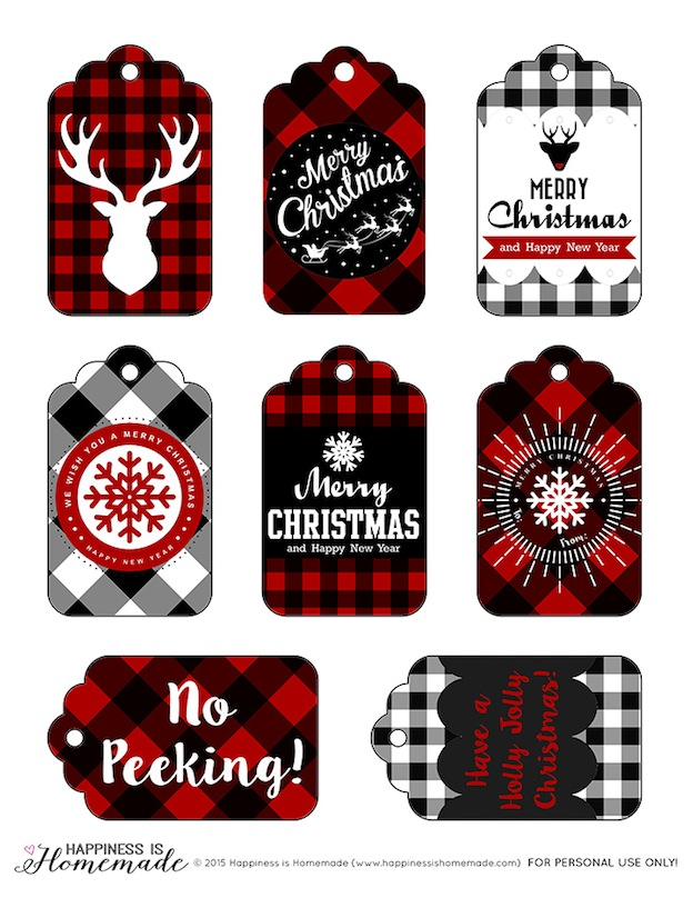 Plaid Gift Tags from Happiness is Homemade. One of 20 FREE printable holiday gift tags ... perfect for decorating all your Christmas packages! | Hello Little Home