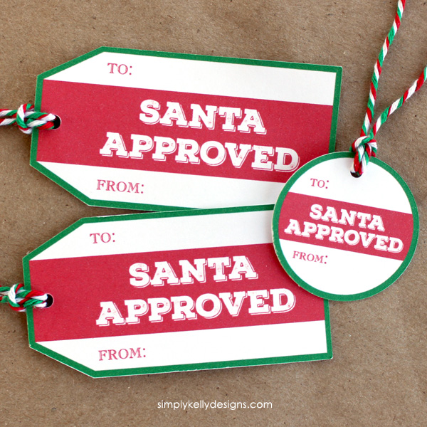 Santa Approved Gift Tags from Simply Kelly Designs. One of 20 FREE printable holiday gift tags ... perfect for decorating all your Christmas packages! | Hello Little Home