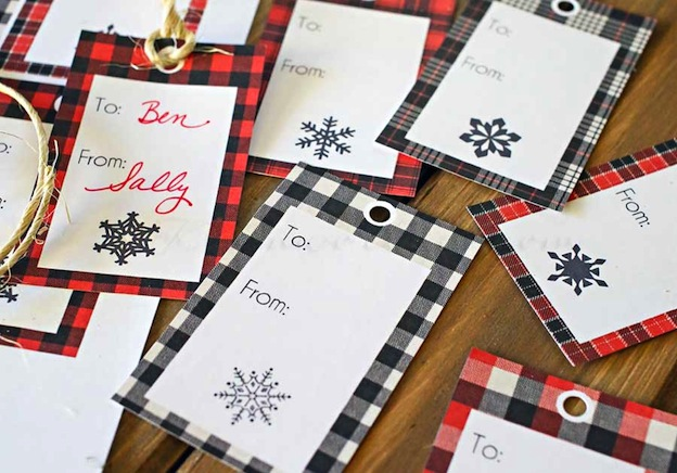 Buffalo Check Christmas Gift Tags from Kleinworth & Co. One of 20 FREE printable holiday gift tags ... perfect for decorating all your Christmas packages! | Hello Little Home