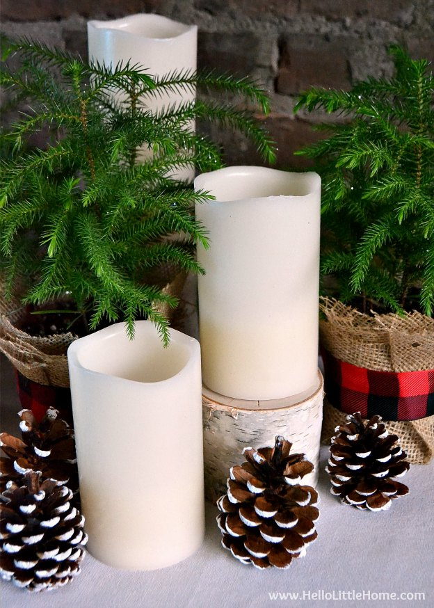 DIY Christmas Centerpiece with Candles, Pine Cones, Fresh Pine Trees, Birch Stumps, Plaid Ribbon, and Burlap | Hello Little Home