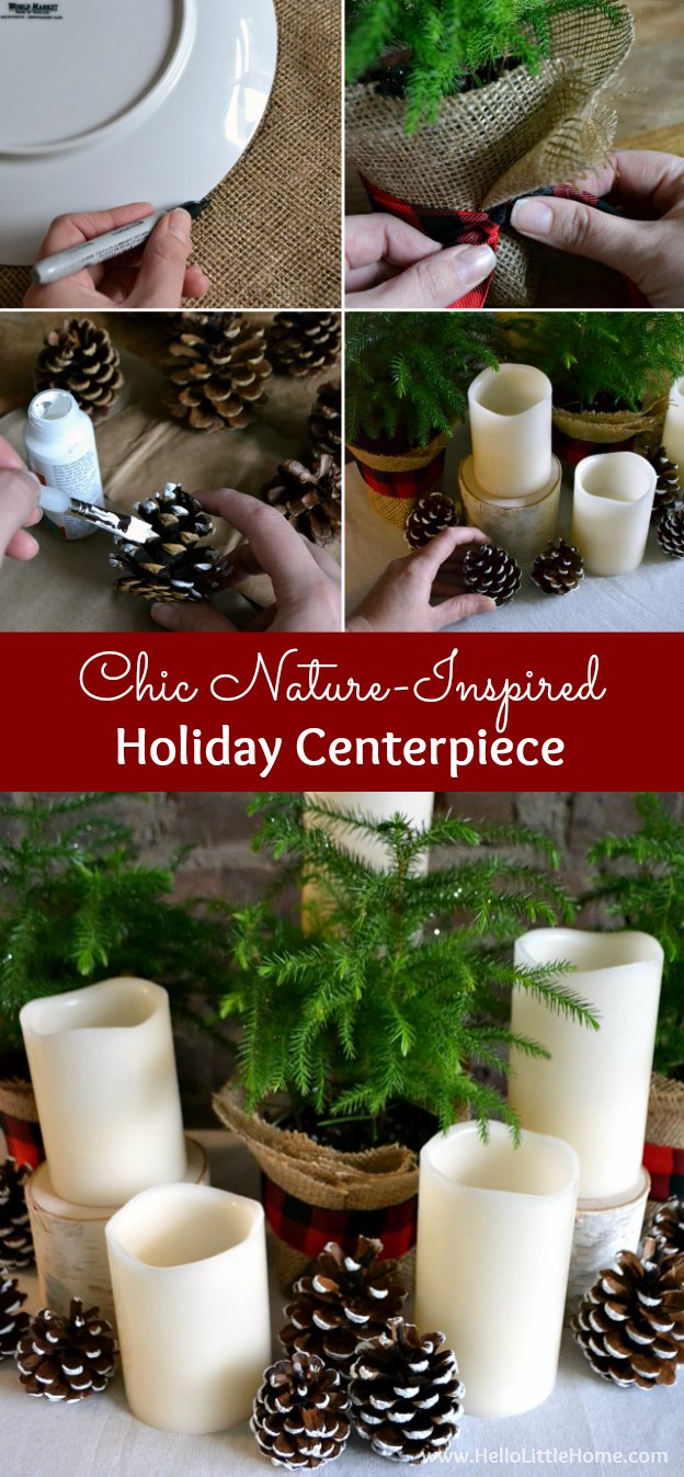 Get easy step-by-step instructions for making a chic, nature inspired holiday centerpiece! | Hello Little Home