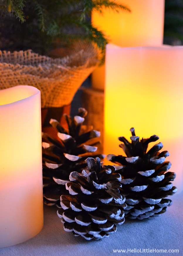 Closeup of Elegant Christmas Centerpiece with Candles Lit