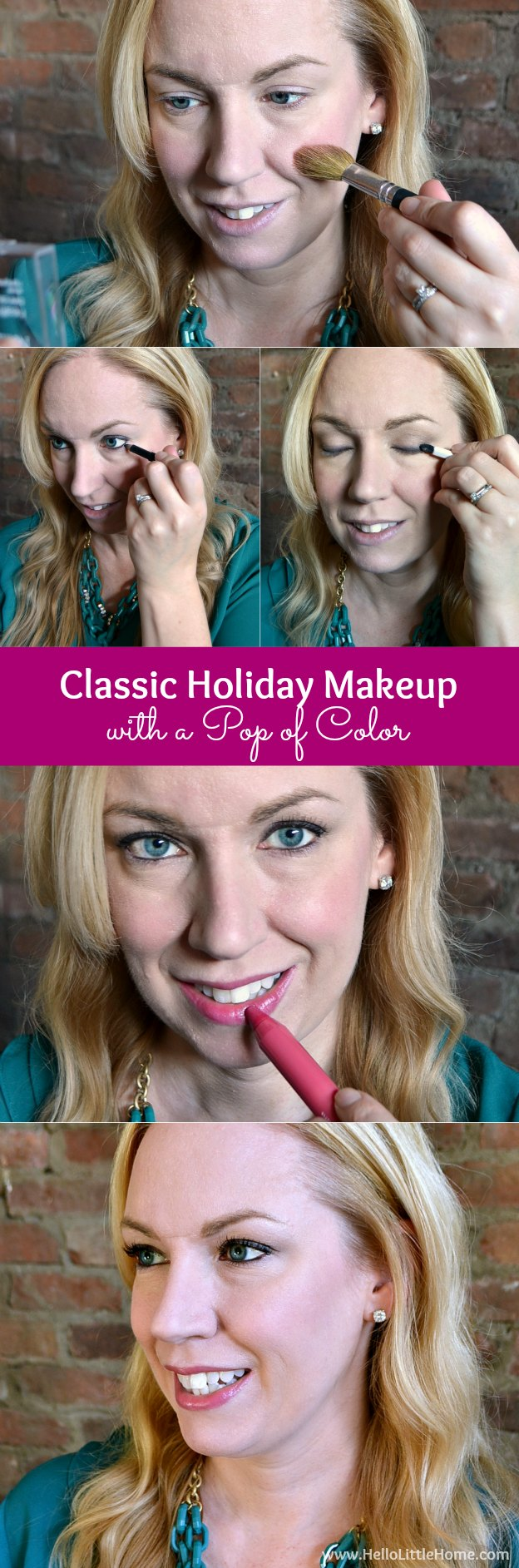 Check out this easy + pretty tutorial for Classic Holiday Makeup with a Pop of Color! | Hello Little Home