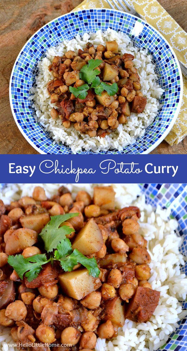 This easy Chickpea Potato Curry is quick to make, yet super delicious ... the perfect busy weeknight meal! | Hello Little Home