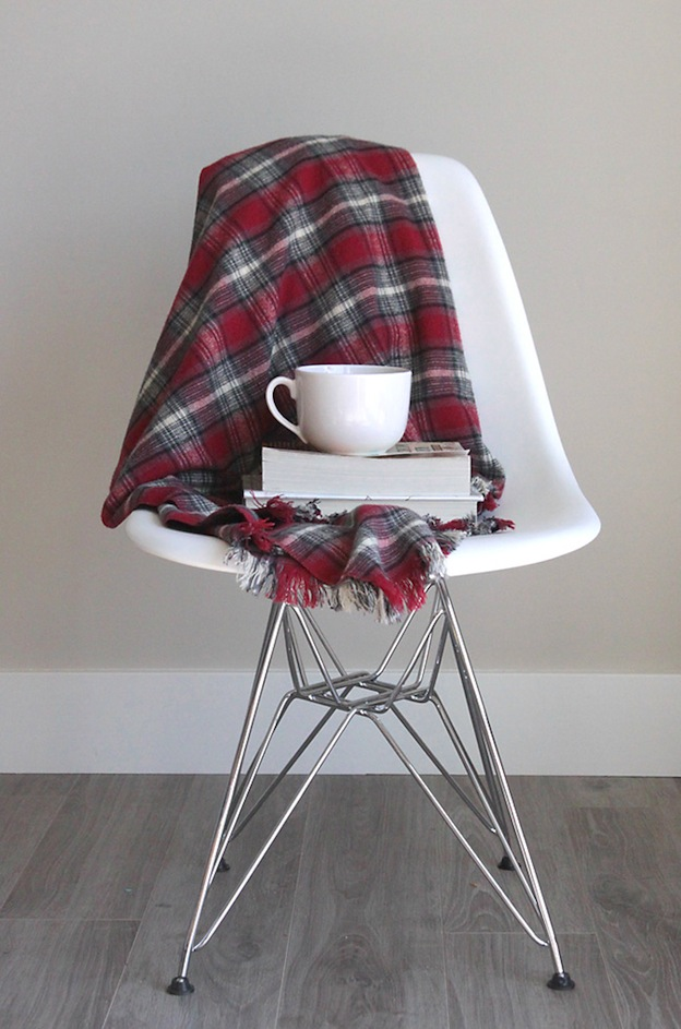 Fringed Flannel Throw from It's Always Autumn, featured on The Ultimate DIY Christmas Gift Guide: 50+ Gift Ideas for Everyone on Your List! | Hello Little Home