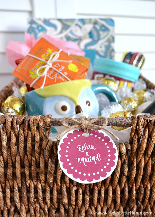 Give the Gift of Relaxtion! Learn how to make this awesome holiday gift basket that's filled with relaxing presents: tea, a coloring book, a candle, and more! | Hello Little Home