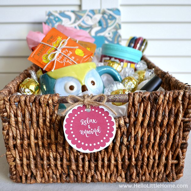 Give the Gift of Relaxtion! Learn how to make this awesome gift basket that's filled with relaxing presents: tea, a coloring book, a candle, and more! | Hello Little Home