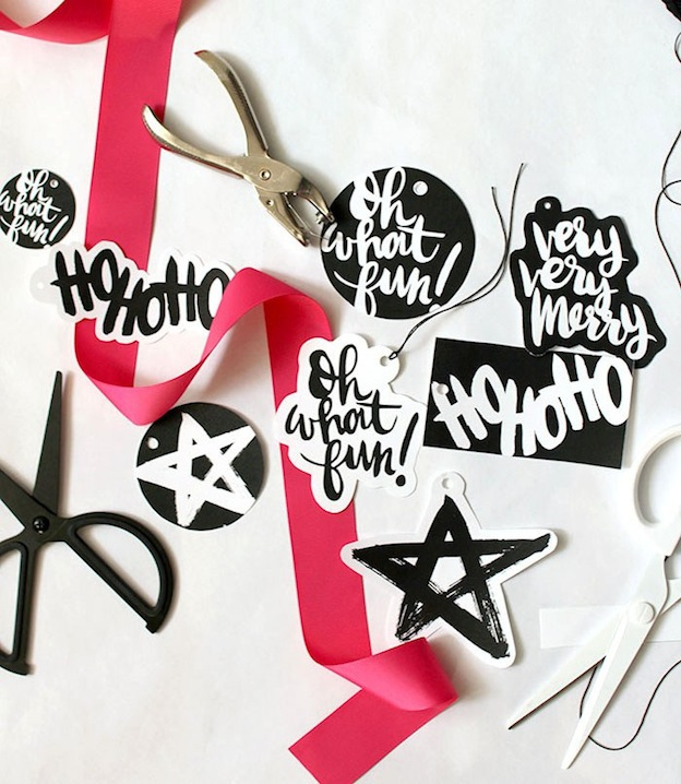 Hand Lettered Gift Tags from Persia Lou. One of 20 FREE printable holiday gift tags ... perfect for decorating all your Christmas packages! | Hello Little Home