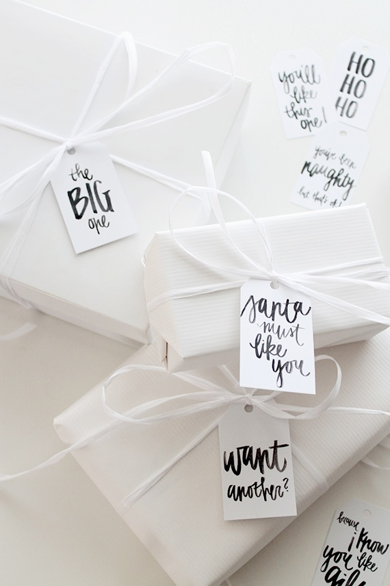 Hand Lettered Gift Tags from Almost Makes Perfect. One of 20 FREE printable holiday gift tags ... perfect for decorating all your Christmas packages! | Hello Little Home