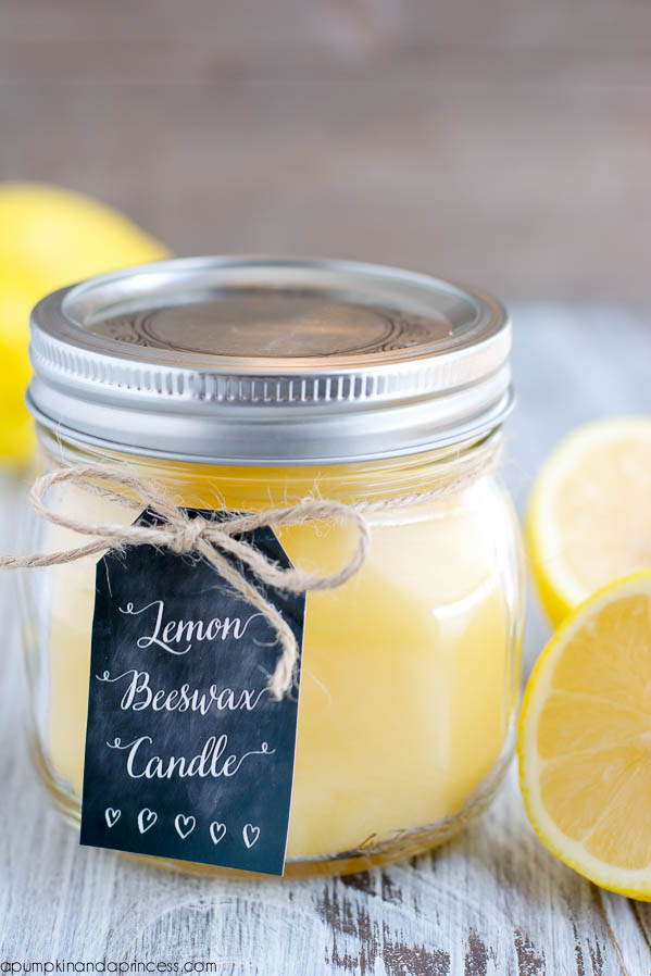 Lemon Beeswax Candle from A Pumpkin and a Princess, featured on The Ultimate DIY Christmas Gift Guide: 50+ Gift Ideas for Everyone on Your List! | Hello Little Home