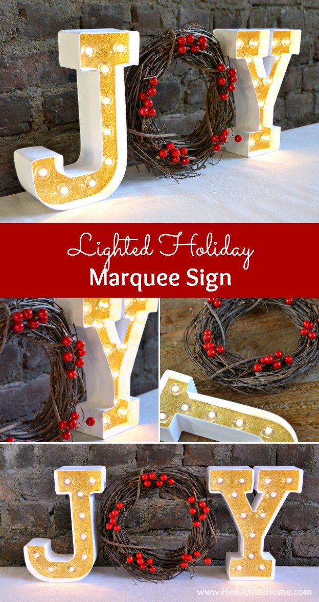 Learn how to make a gorgeous Lighted Holiday Marquee Sign ... it's a super easy and festive DIY Christmas decor craft! | Hello Little Home