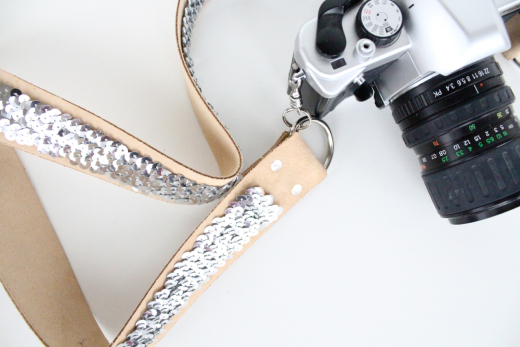 Sequin Camera Strap from Sugar and Cloth, featured on The Ultimate DIY Christmas Gift Guide: 50+ Gift Ideas for Everyone on Your List! | Hello Little Home