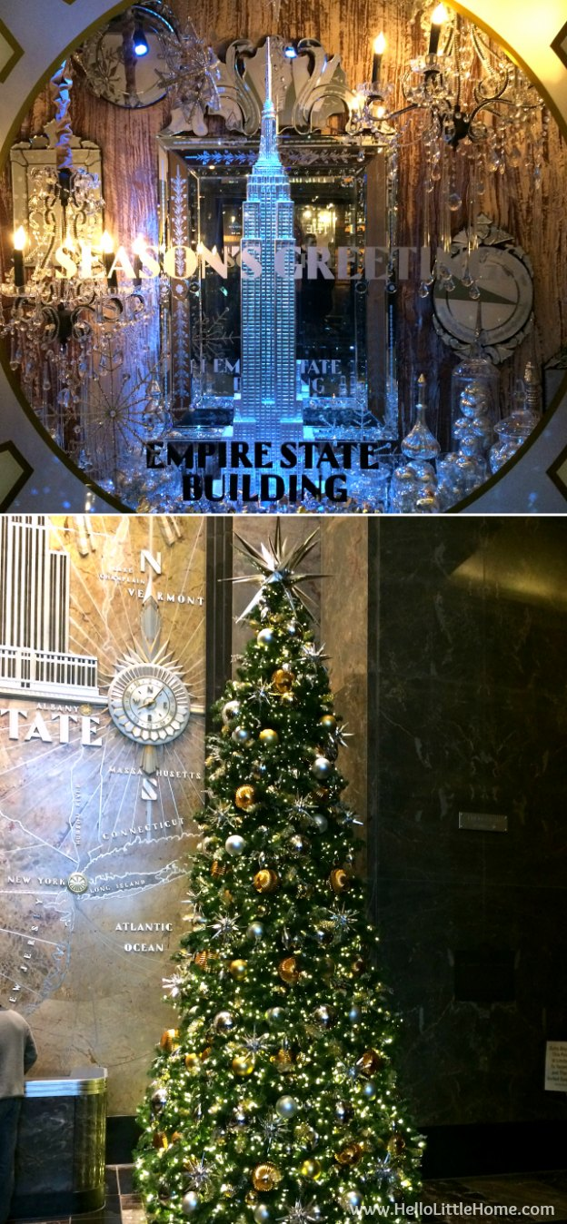 Join me on my NYC Holiday Tour 2015 of Christmas window displays, trees, and lights! Empire State Building | Hello Little Home
