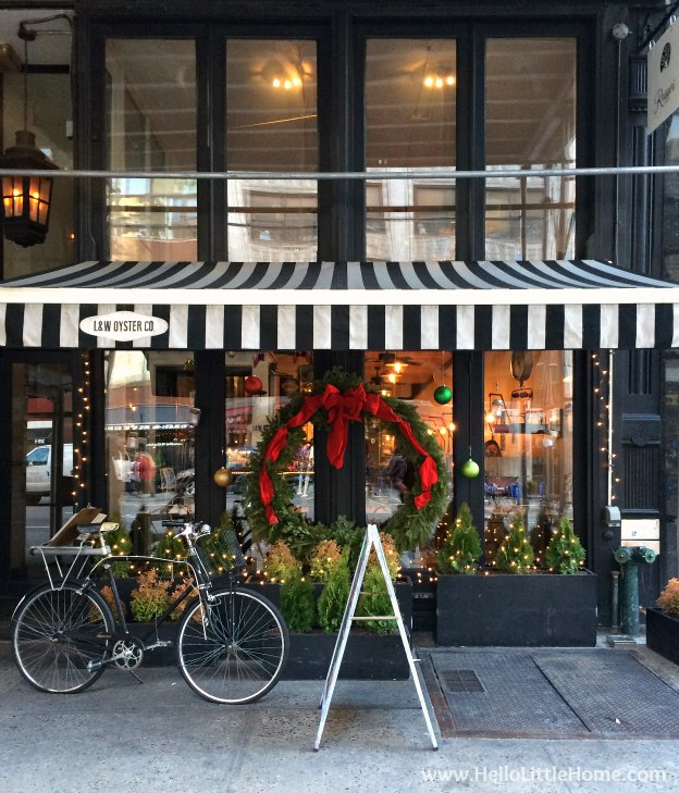 Join me on my NYC Holiday Tour 2015 of Christmas window displays, trees, and lights! L & W Oyster Co. | Hello Little Home