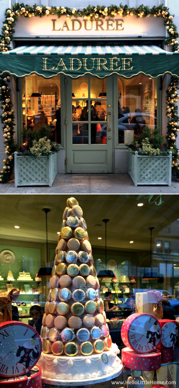 Join me on my NYC Holiday Tour 2015 of Christmas window displays, trees, and lights! Laduree | Hello Little Home