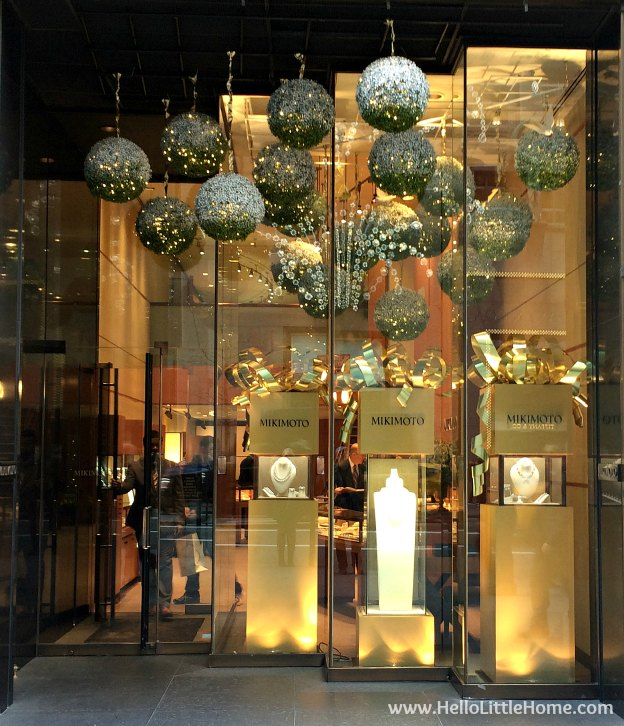 Join me on my NYC Holiday Tour 2015 of Christmas window displays, trees, and lights! Mikimoto | Hello Little Home