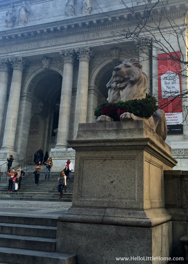 Join me on my NYC Holiday Tour 2015 of Christmas window displays, trees, and lights! The NYC Public Library | Hello Little Home