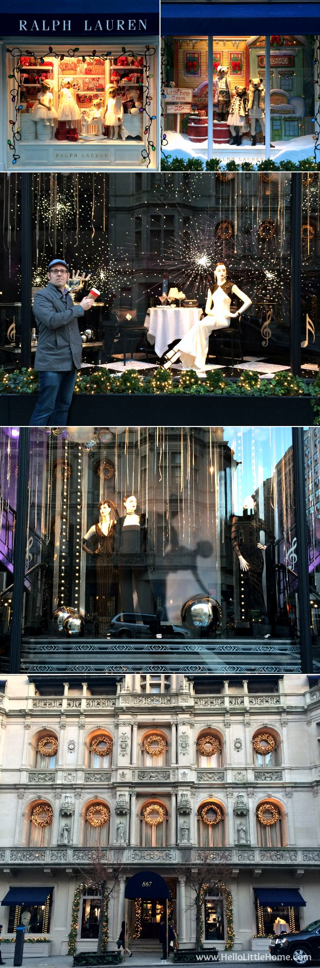 Join me on my NYC Holiday Tour 2015 of Christmas window displays, trees, and lights! Ralph Lauren | Hello Little Home