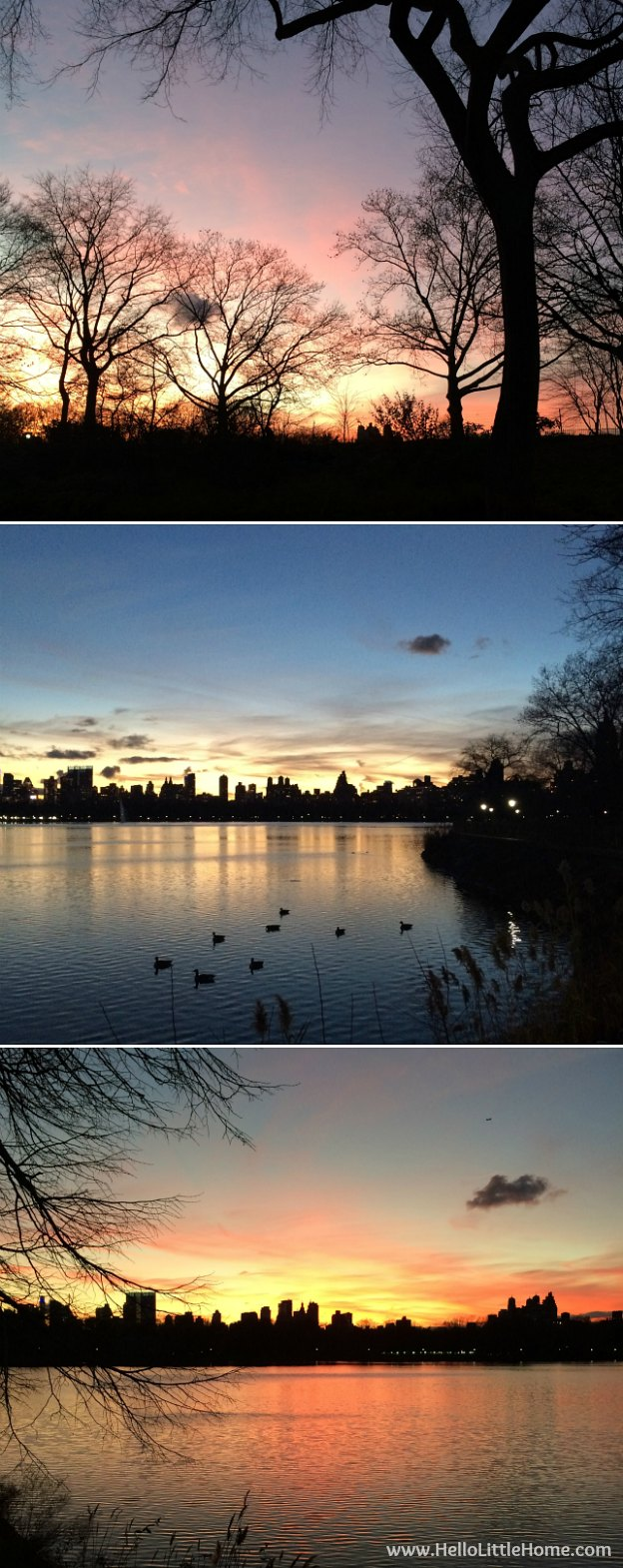 Join me on my NYC Holiday Tour 2015 of Christmas window displays, trees, and lights! Sunset of the Reservoir Central Park | Hello Little Home