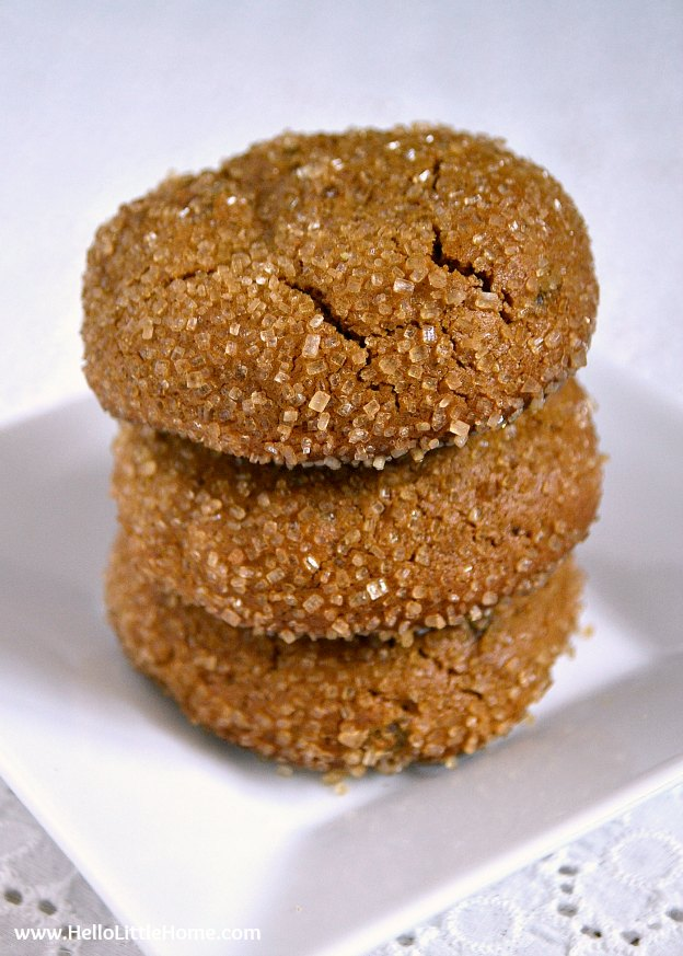 Treat yourself to this easy-to-make, thick and chewy Ginger Spice Cookies recipe! | Hello Little Home