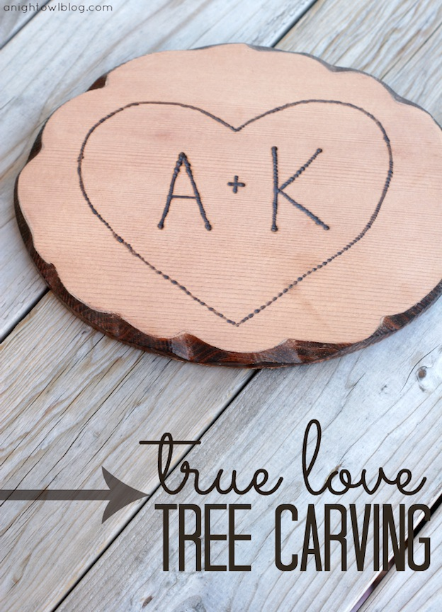 True Love Tree Carving from A Night Owl Blog, featured on The Ultimate DIY Christmas Gift Guide: 50+ Gift Ideas for Everyone on Your List! | Hello Little Home