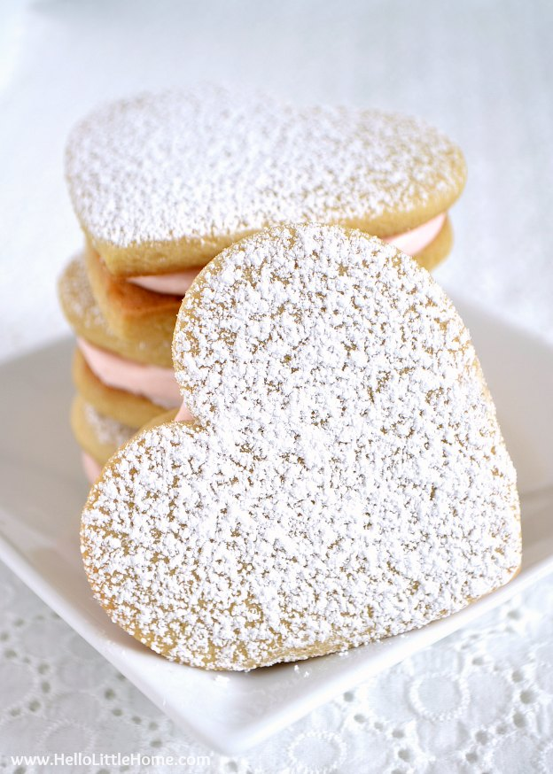 The ultimate Birthday Cake Alternatives roundup ... over 70 delicious recipes perfect for adults and for kids alike, including these Heart Sandwich Cookies! These fun dessert ideas range from healthy to decadent. Awesome non cake birthday ideas your whole family will love! | Hello Little Home