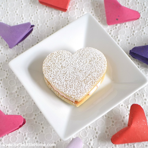 Heart Sandwich Cookies with White Chocolate Cream Cheese Filling