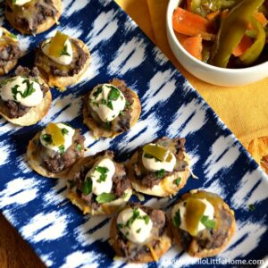 Mini Black Bean Tostadas with Chipotle Cream