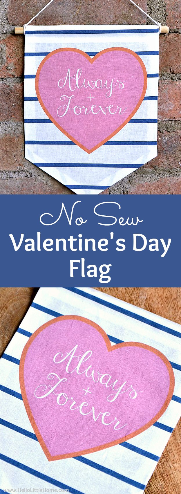 Adorable No Sew Valentine's Day Flag with free printable and easy tutorial! Learn how to make a DIY Valentine's Day flag … makes a cute Valentine's Day decoration or gift idea. This DIY Valentine's Day decor idea is a simple craft made with printable fabric that's ready in minutes.. The modern heart design would look great in your dining room, living room, bedroom, or anywhere! | Hello Little Home