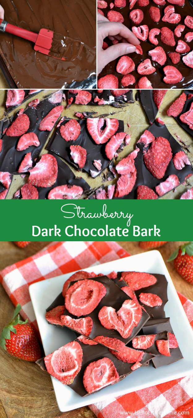 This Strawberry Dark Chocolate Bark is a decadent, yet healthy, treat that only takes 2 ingredients to make! | Hello Little Home