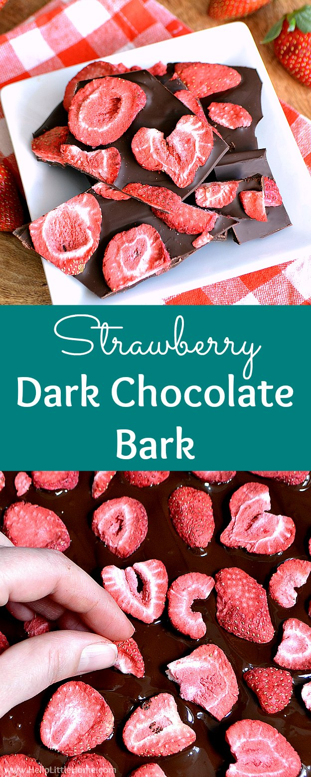 Strawberry Dark Chocolate Bark … a decadent treat that takes minutes to make! Learn how to make this easy Strawberry Chocolate Bark with dark chocolate and freeze dried strawberries. It's the ultimate Valentine's Day dessert! This simple Strawberry Bark with dried fruit and chocolate is healthy, gluten free snack or sweet treat! | Hello Little Home